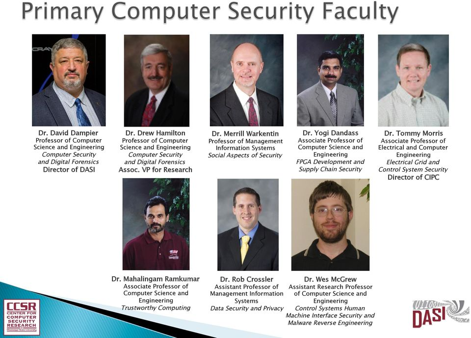 Merrill Warkentin Professor of Management Information Systems Social Aspects of Security Dr.