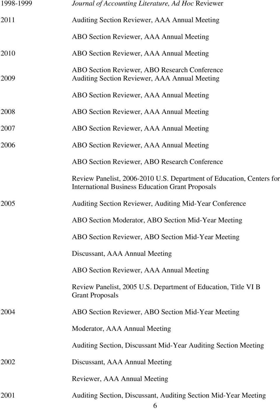 Section Reviewer, AAA Annual Meeting 2006 ABO Section Reviewer, AAA Annual Meeting ABO Section Reviewer, ABO Research Conference Review Panelist, 2006-2010 U.S. Department of Education, Centers for