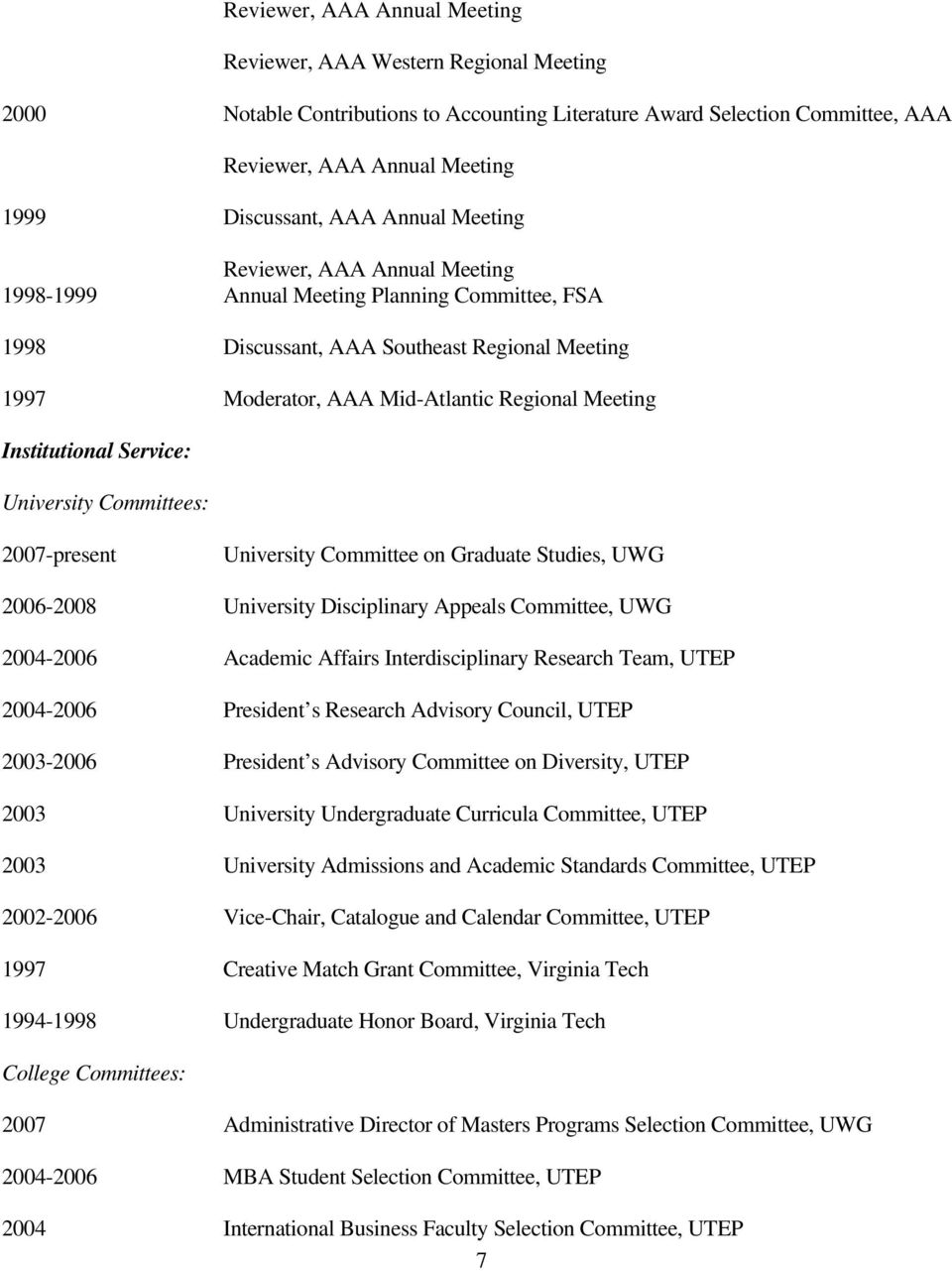 Institutional Service: University Committees: 2007-present University Committee on Graduate Studies, UWG 2006-2008 University Disciplinary Appeals Committee, UWG 2004-2006 Academic Affairs