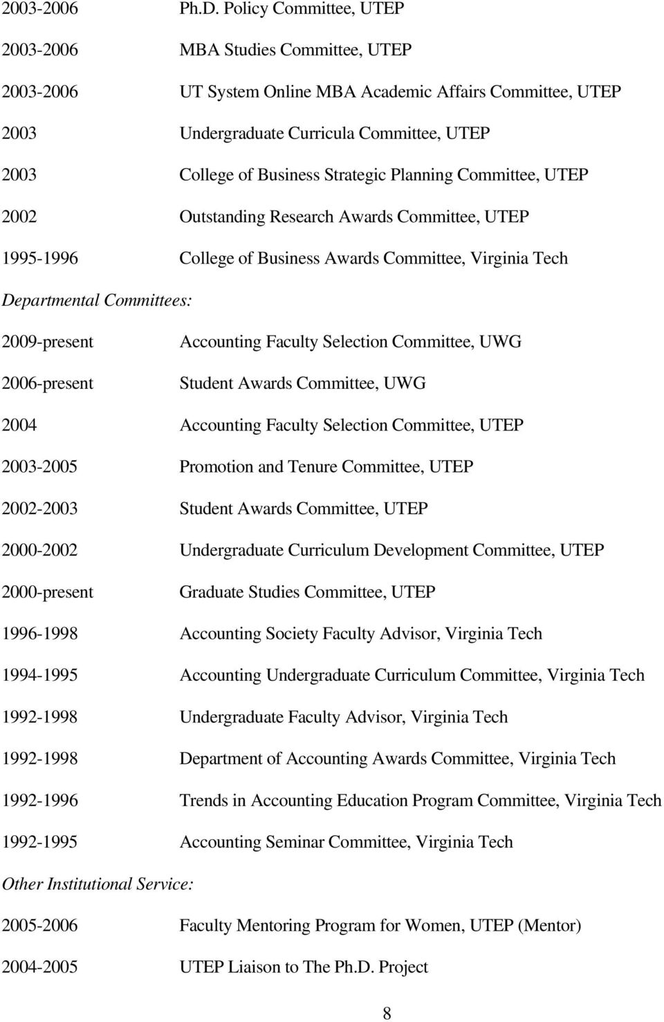 Strategic Planning Committee, UTEP 2002 Outstanding Research Awards Committee, UTEP 1995-1996 College of Business Awards Committee, Virginia Tech Departmental Committees: 2009-present 2006-present