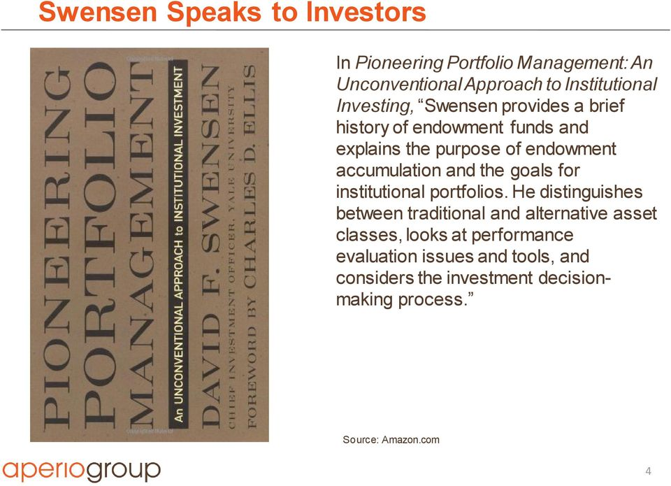 and the goals for institutional portfolios.