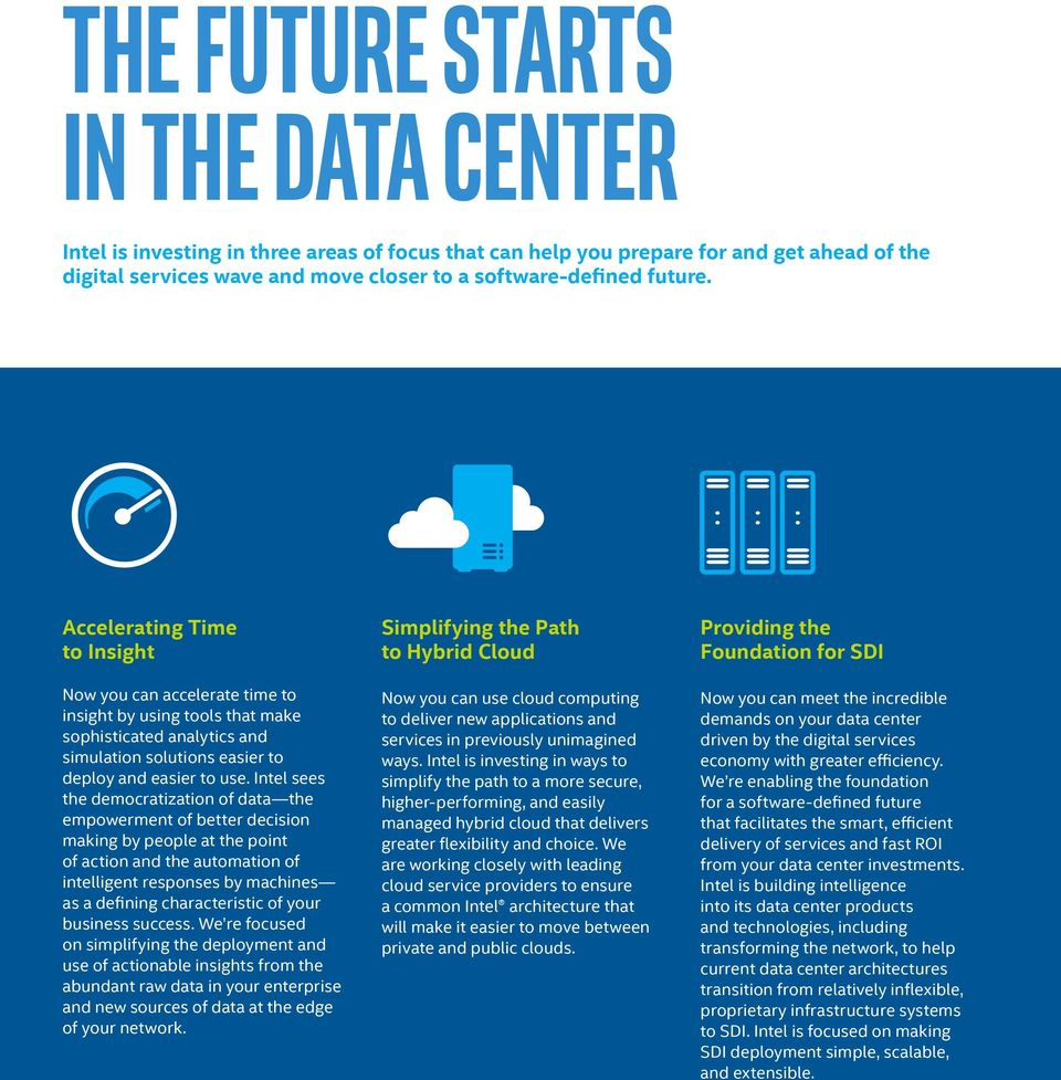 Intel sees the democratization of data the empowerment of better decision making by people at the point of action and the automation of intelligent responses by machines as a defining characteristic