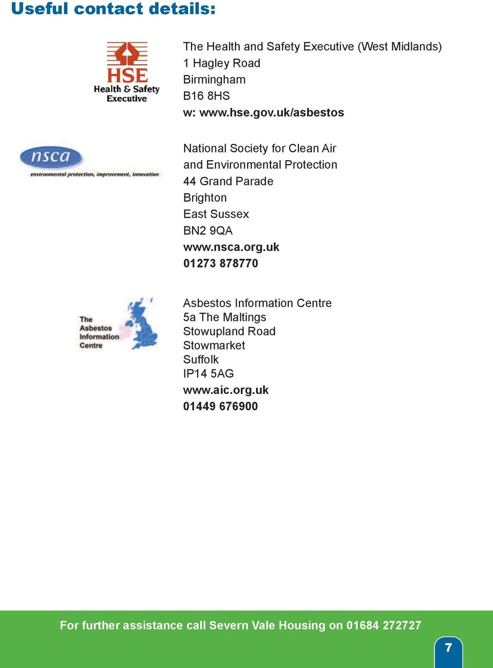 uk/asbestos National Society for Clean Air and Environmental Protection 44 Grand Parade
