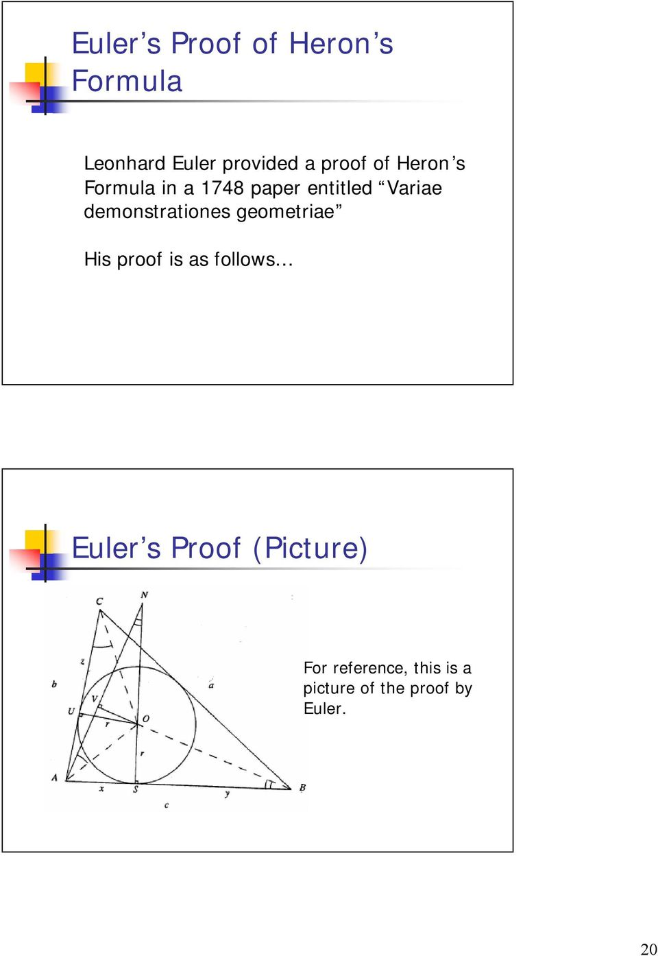 demonstrtiones geometrie His proof is s follows Euler s
