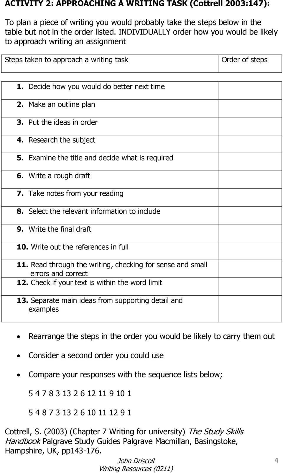 Make an outline plan 3. Put the ideas in order 4. Research the subject 5. Examine the title and decide what is required 6. Write a rough draft 7. Take notes from your reading 8.