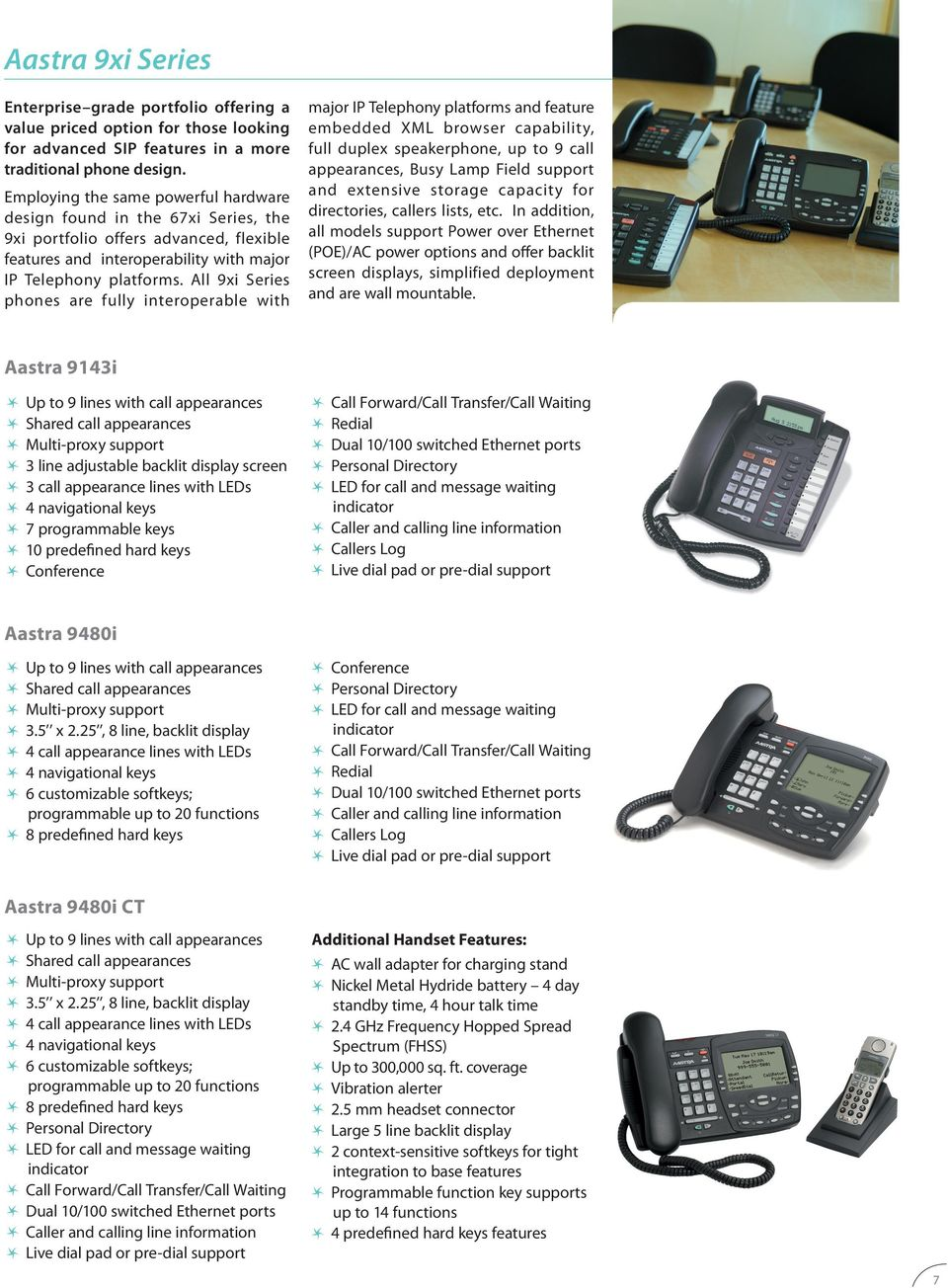 All 9xi Series phones are fully interoperable with major IP Telephony platforms and feature embedded XML browser capability, full duplex speakerphone, up to 9 call, Busy Lamp Field support and