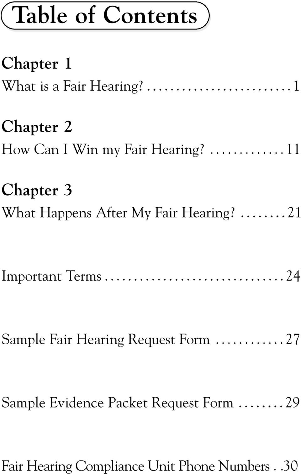 ...11 Chapter 3 What Happens After My Fair Hearing?...21 Important Terms.