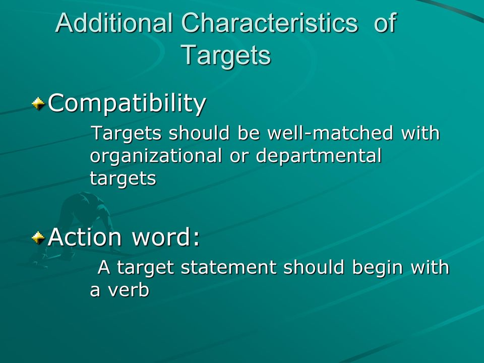 organizational or departmental targets Action