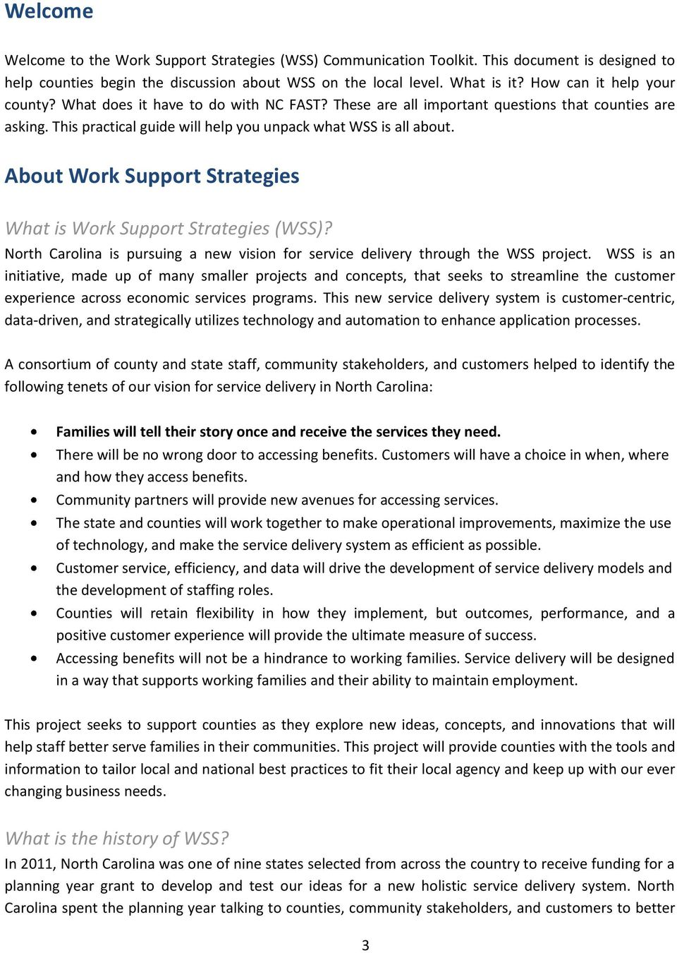 About Work Support Strategies What is Work Support Strategies (WSS)? North Carolina is pursuing a new vision for service delivery through the WSS project.
