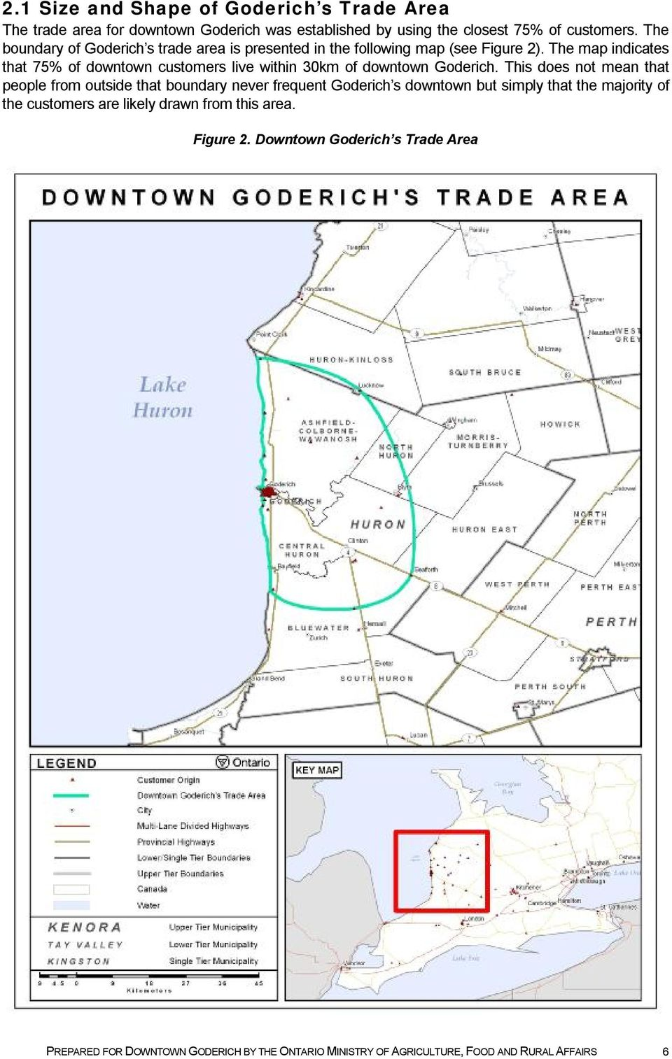 The map indicates that 75% of downtown customers live within 30km of downtown Goderich.