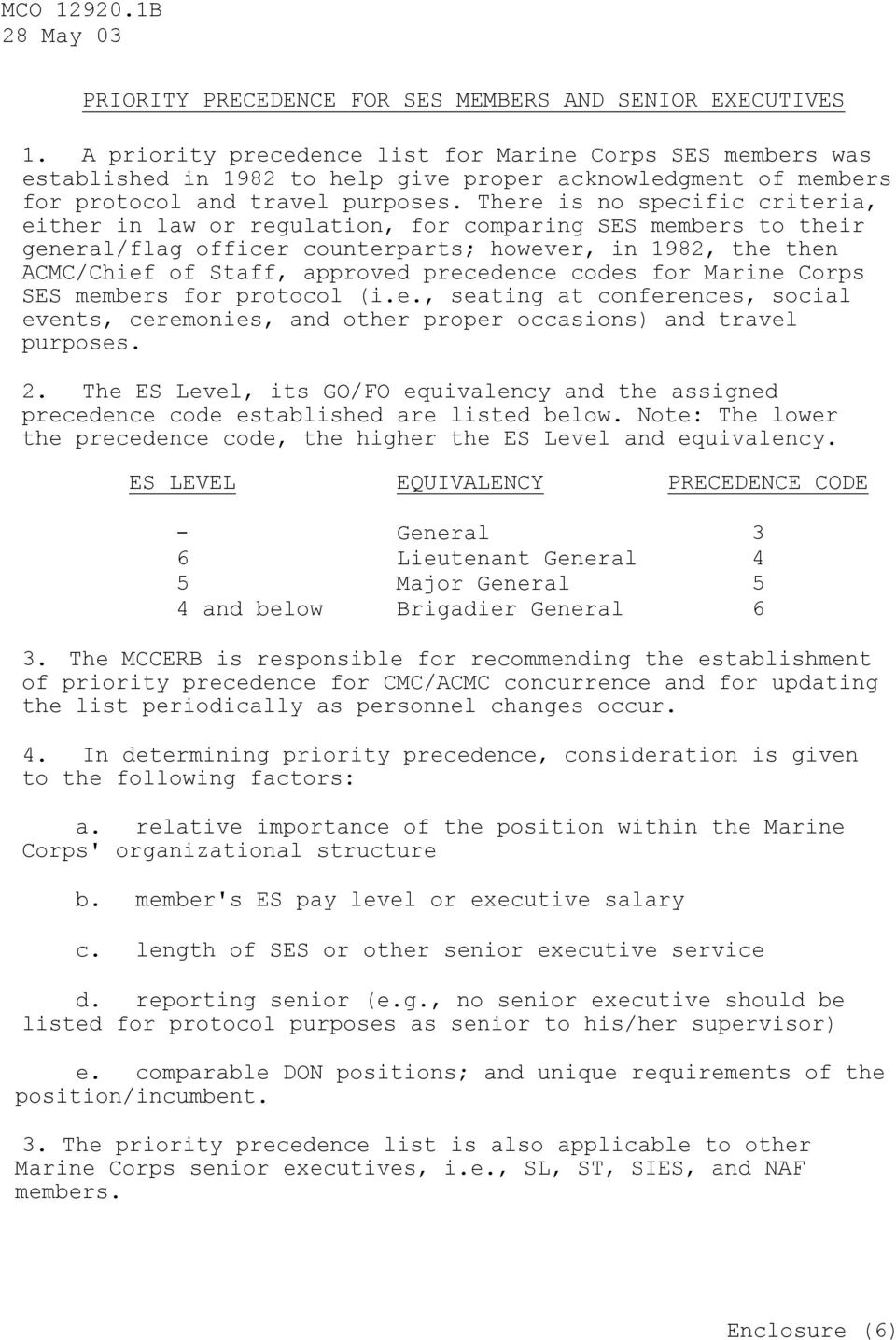 There is no specific criteria, either in law or regulation, for comparing SES members to their general/flag officer counterparts; however, in 1982, the then ACMC/Chief of Staff, approved precedence