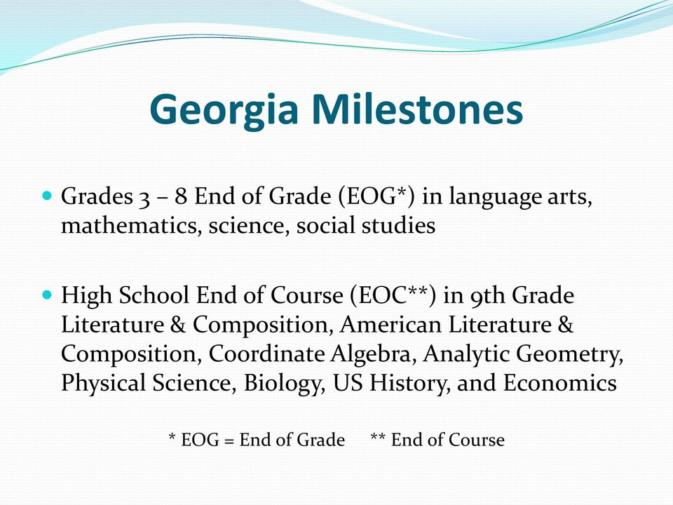American Literature & Composition, Coordinate Algebra, Analytic Geometry,