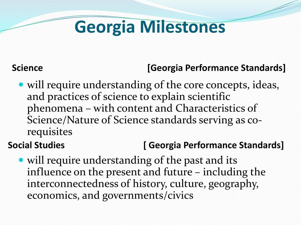 Studies [Georgia Performance Standards] [ Georgia Performance Standards] will require understanding of the past and its