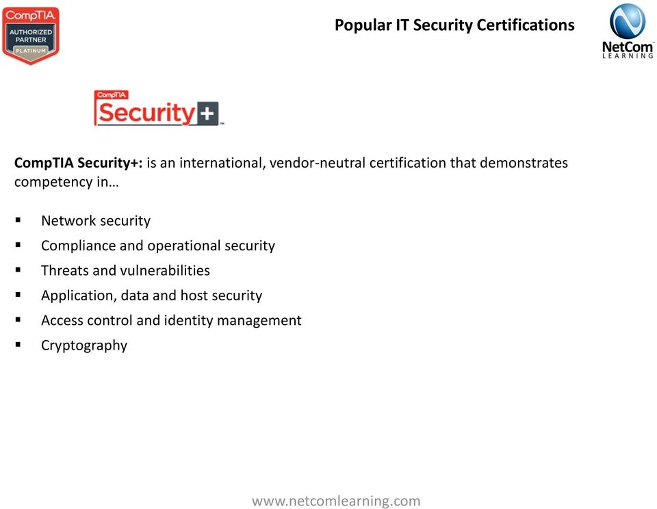 security Compliance and operational security Threats and vulnerabilities