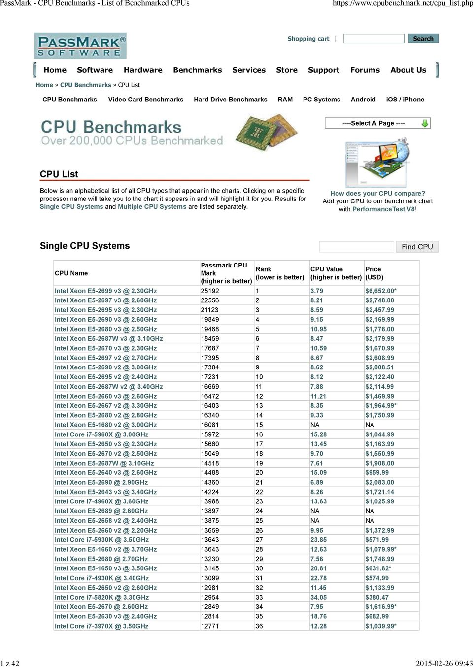 Clicking on a specific processor name will take you to the chart it appears in and will highlight it for you. Results for Single CPU Systems and Multiple CPU Systems are listed separately.