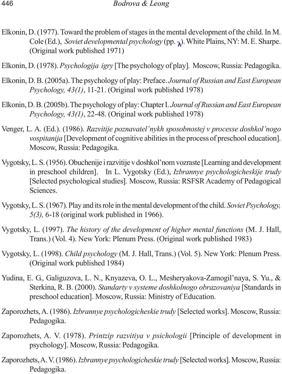 Journal of Russian and East European Psychology, 43(1), 11-21. (Original work published 1978) Elkonin, D. B. (2005b). The psychology of play: Chapter I.