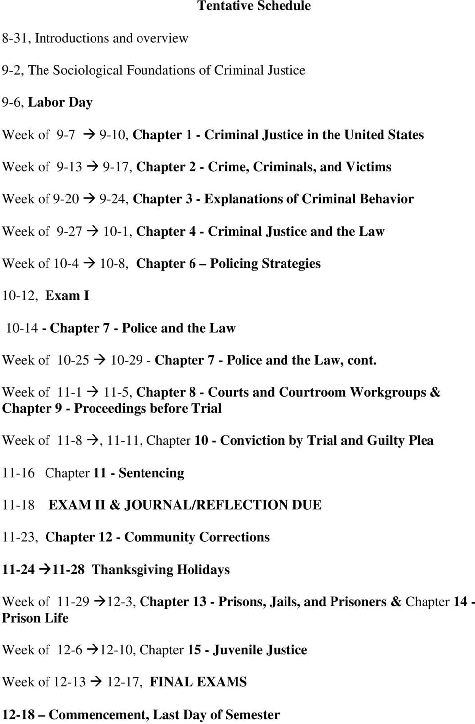 Chapter 6 Policing Strategies 10-12, Exam I 10-14 - Chapter 7 - Police and the Law Week of 10-25 10-29 - Chapter 7 - Police and the Law, cont.