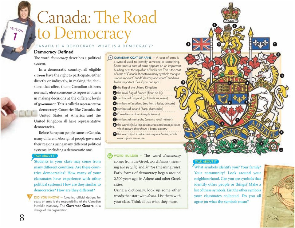 Canadian citizens normally elect someone to represent them in making decisions at the different levels of government. is is called a representative democracy.