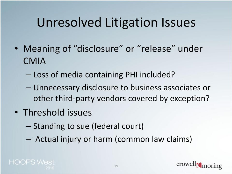 Unnecessary disclosure to business associates or other third-party vendors