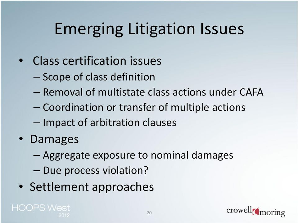 transfer of multiple actions Impact of arbitration clauses Damages