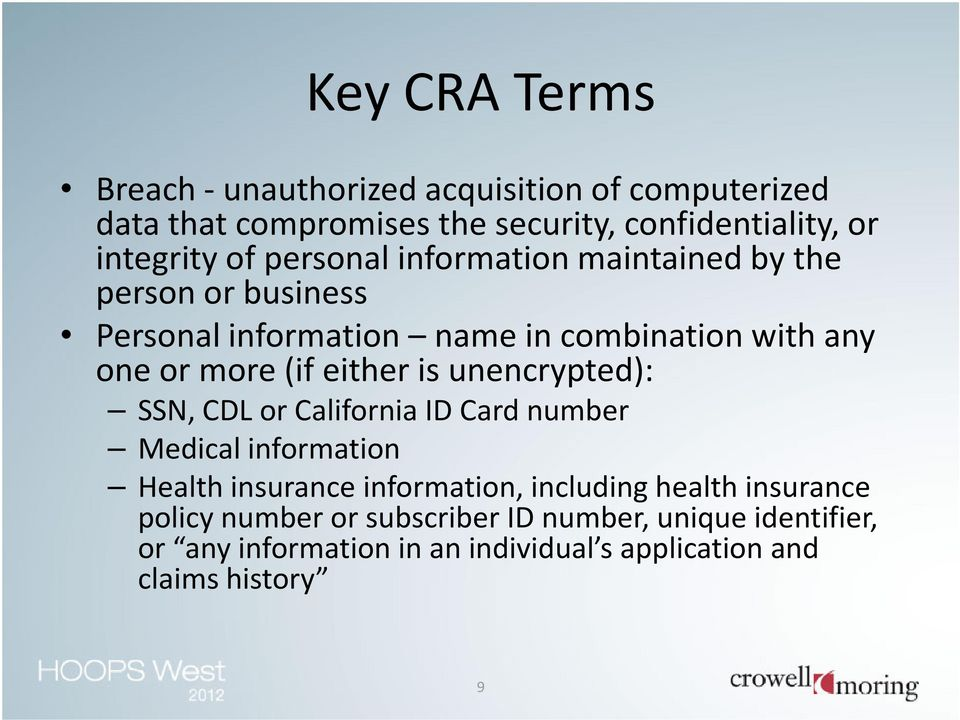 is unencrypted): SSN, CDLor California ID Card number Medical information Health insurance information, including health insurance