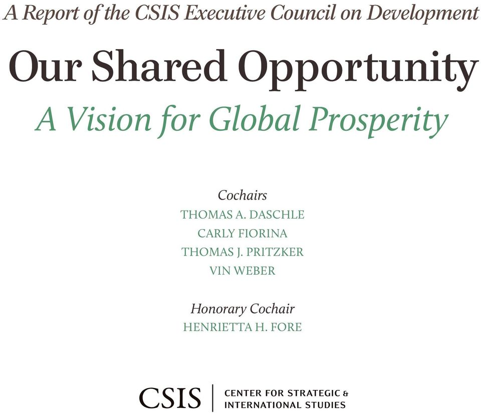 Global Prosperity Cochairs Thomas A.