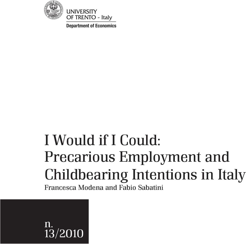 Childbearing Intentions in Italy