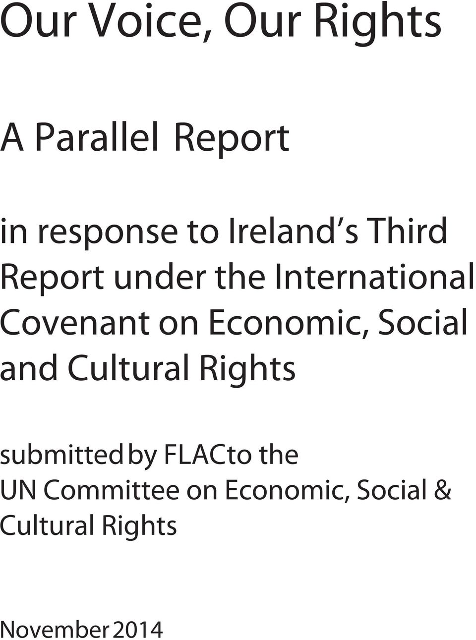 Social and Cultural Rights submitted by FLAC to the UN