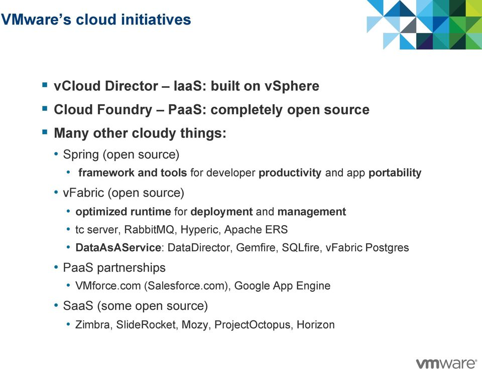 VMware Cloud Initiative Evolving Virtualized Datacenters to a Cloud