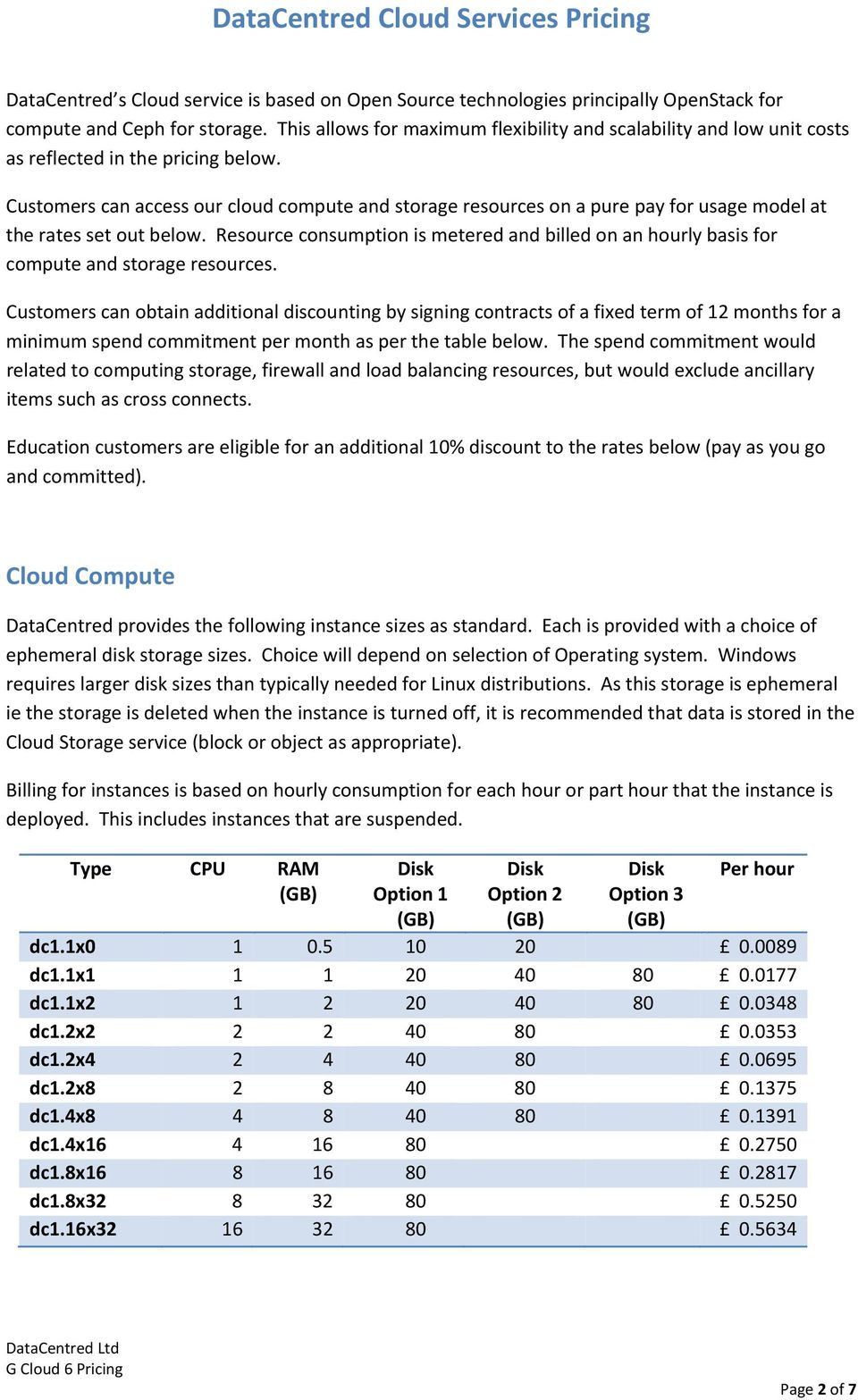 Customers can access our cloud compute and storage resources on a pure pay for usage model at the rates set out below.