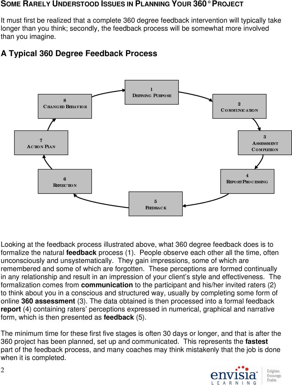 A Typical 360 Degree Feedback Process 8 CHANGED BEHAVIOR 1 DEFINING PURPOSE 2 COMMUNICATION 7 ACTION PLAN 3 ASSESSMENT COMPLETION 6 REFLECTION 4 REPORT PROCESSING 5 FEEDBACK Looking at the feedback