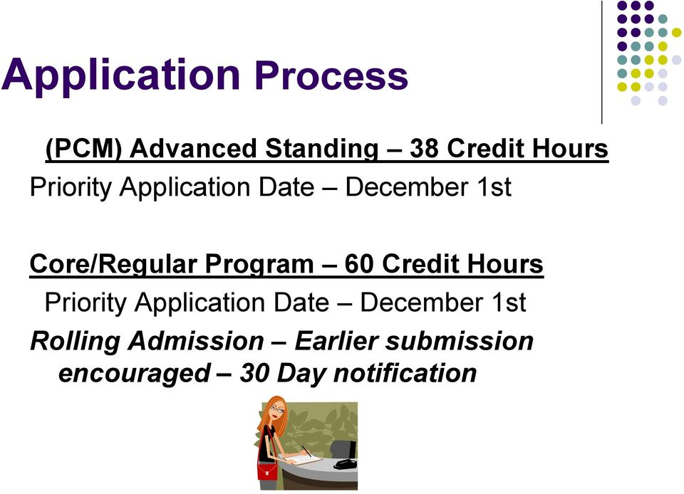 60 Credit Hours Priority Application Date December 1st