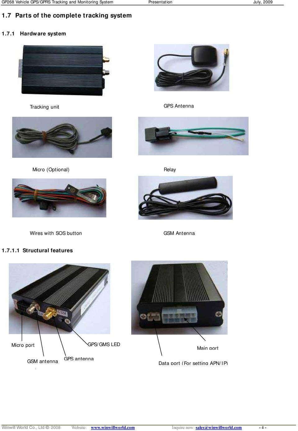 7.1.1 Structural features Micro port GPS/GMS LED Main port GSM antenna t GPS antenna Data
