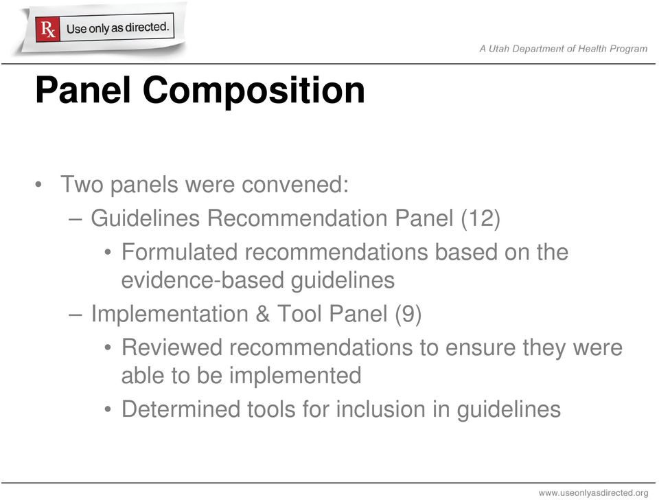 guidelines Implementation & Tool Panel (9) Reviewed recommendations to
