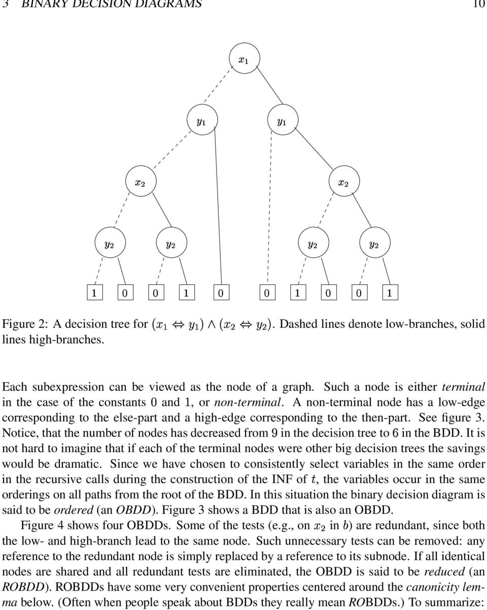 and a high-edge corresponding to the then-part See figure 3 Notice, that the number of nodes has decreased from w in the decision tree to x in the BDD It is not hard to imagine that if each of the