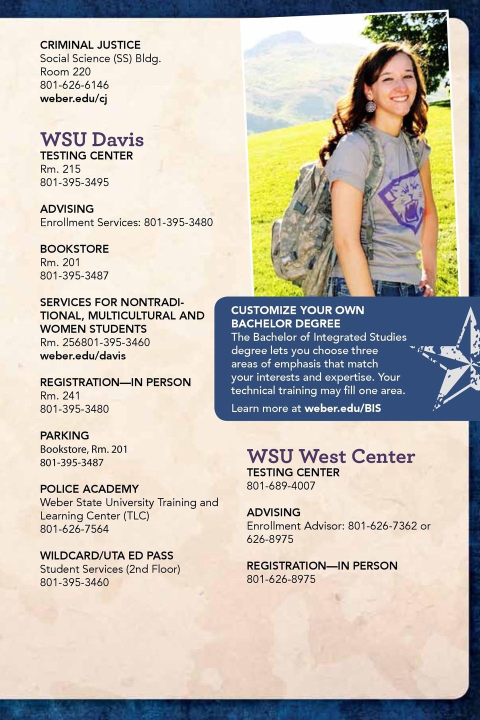 201 801-395-3487 Police academy Weber State University Training and Learning Center (TLC) 801-626-7564 Wildcard/UTA ED pass Student Services (2nd Floor) 801-395-3460 Customize your own Bachelor