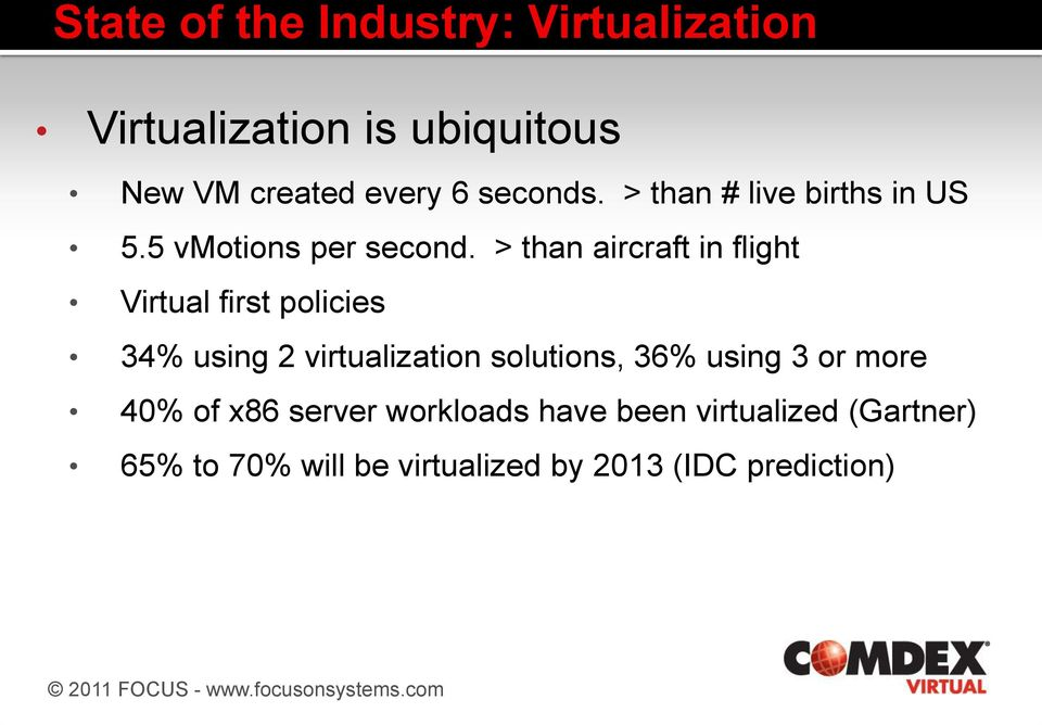 > than aircraft in flight Virtual first policies 34% using 2 virtualization solutions, 36%