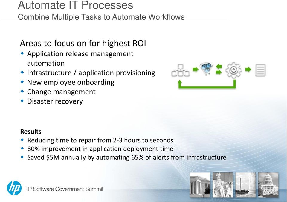 onboarding Change management Disaster recovery Results Reducing time to repair from 2 3 hours to