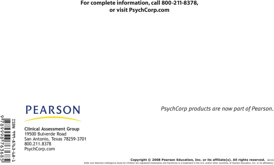 com Copyright 2008 Pearson Education, Inc. or its affiliate(s). All rights reserved.