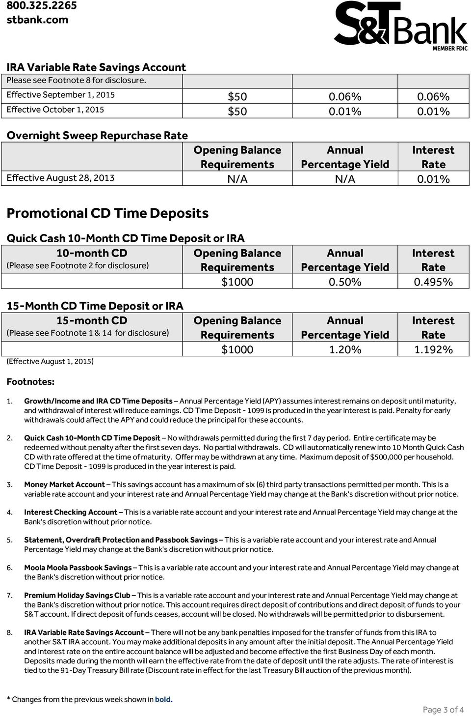 01% Promotional CD Time Deposits Quick Cash 10-Month CD Time Deposit or IRA 10-month CD (Please see Footnote 2 for disclosure) $1000 0.50% 0.