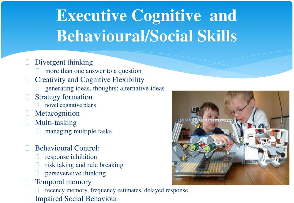 tasks Behavioural Control: Executive Cognitive and Behavioural/Social Skills response inhibition risk taking and rule