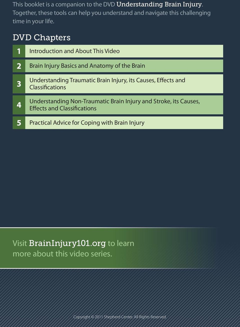 DVD Chapters 1 2 Introduction and About This Video Brain Injury Basics and Anatomy of the Brain 3 4 5 Understanding Traumatic Brain Injury, its