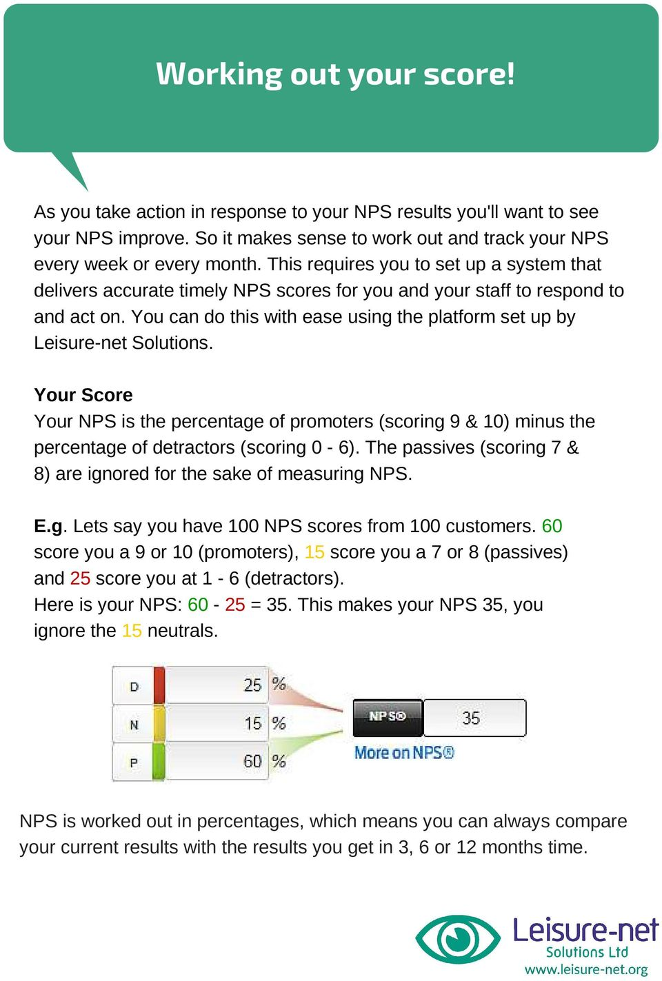 You can do this with ease using the platform set up by Leisure-net Solutions. Your Score Your NPS is the percentage of promoters (scoring 9 & 10) minus the percentage of detractors (scoring 0-6).