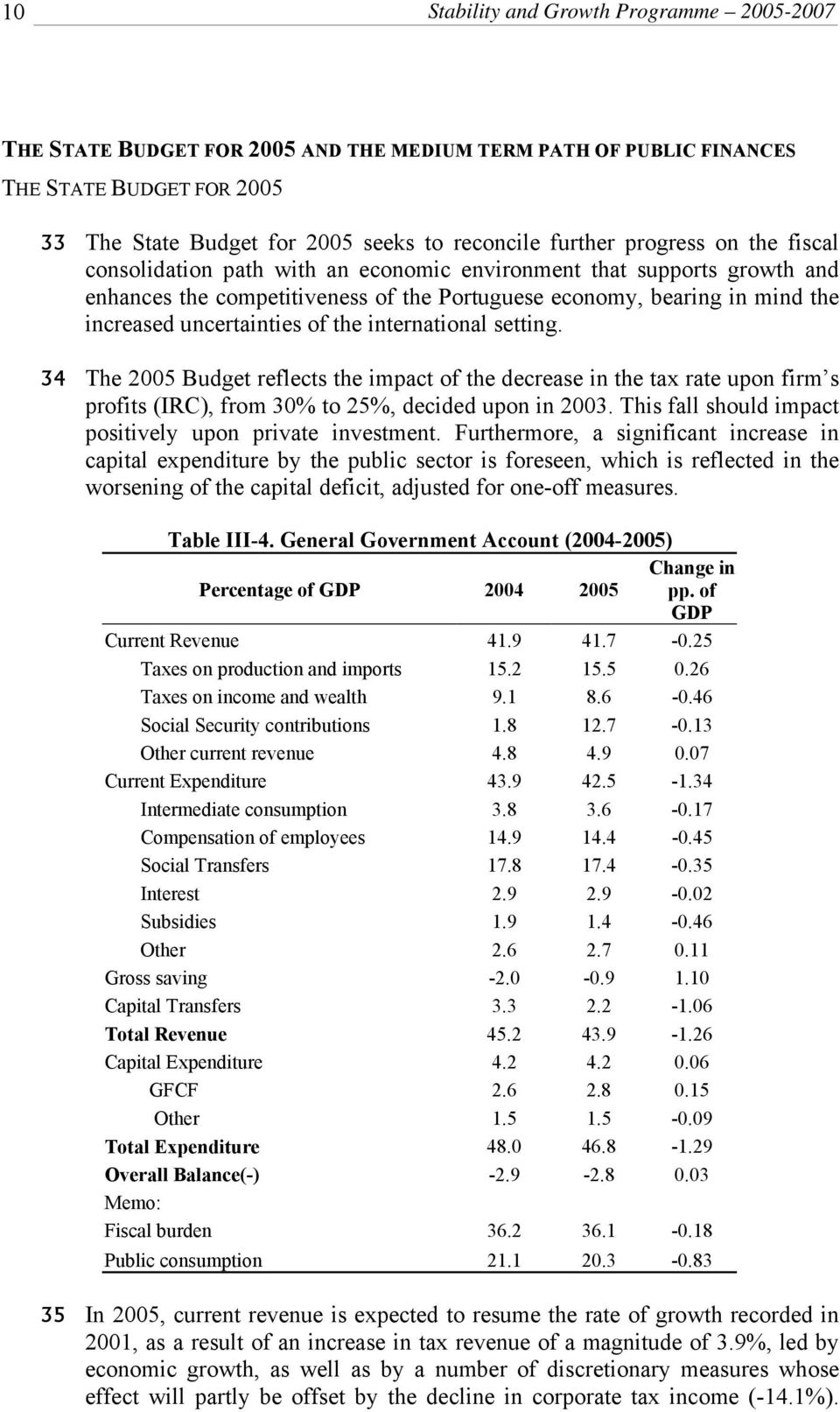 the international setting. 34 The 2005 Budget reflects the impact of the decrease in the tax rate upon firm s profits (IRC), from 30% to 25%, decided upon in 2003.