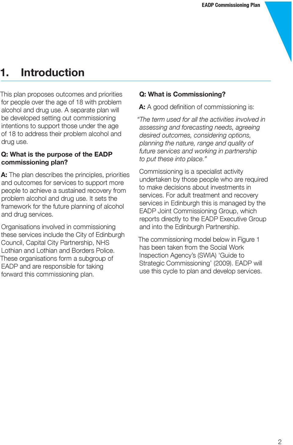Q: What is the purpose of the EADP commissioning plan?
