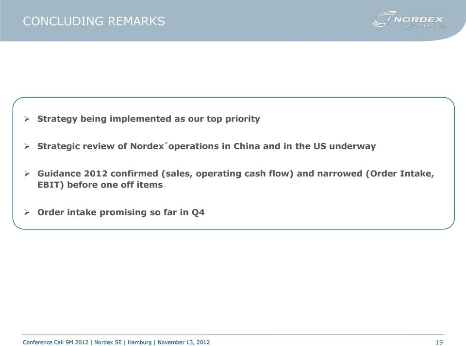 Guidance 2012 confirmed (sales, operating cash flow) and narrowed