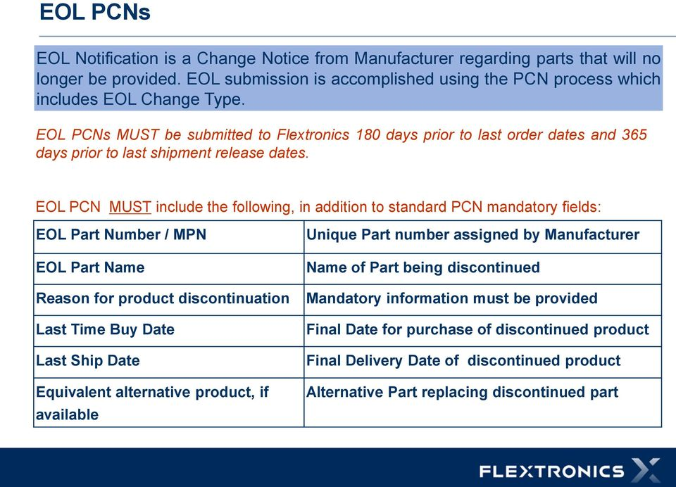 EOL PCN MUST include the following, in addition to standard PCN mandatory fields: EOL Part Number / MPN EOL Part Name Reason for product discontinuation Last Time Buy Date Last Ship Date Equivalent