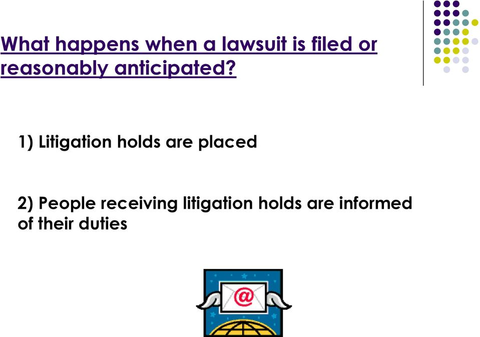 1) Litigation holds are placed 2)