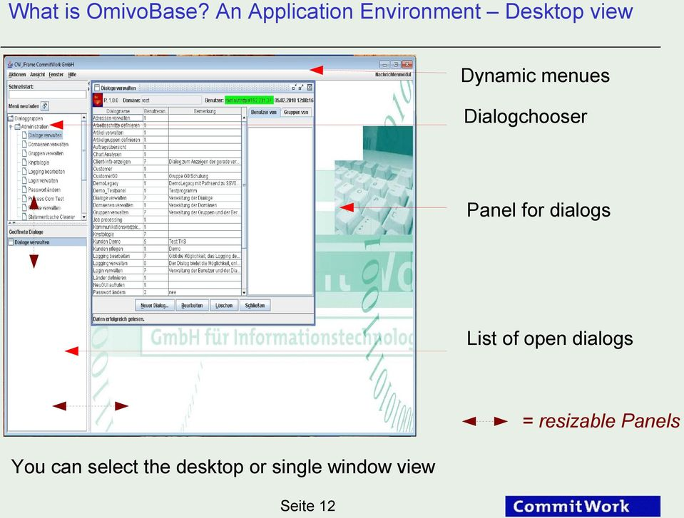 menues Dialogchooser Panel for dialogs List of