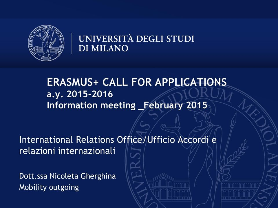 International Relations Office/Ufficio Accordi e